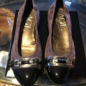 AGL Black Patent Leather Purple Suede Flats